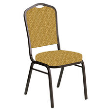 Embroidered Crown Back Banquet Chair in Optik Tapenade Fabric - Gold Vein Frame