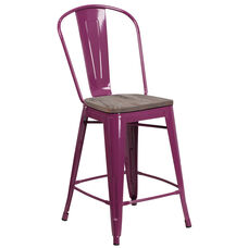 """24"""" High Purple Metal Counter Height Stool with Back and Wood Seat"""