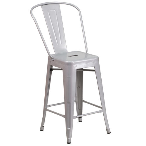 24 Silver Metal Outdoor Stool Ch 31320 24gb Sil Gg