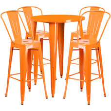"Commercial Grade 30"" Round Orange Metal Indoor-Outdoor Bar Table Set with 4 Cafe Stools"