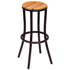 Norden Backless Barstool - Synthetic Teak Seat and Black Aluminum Frame