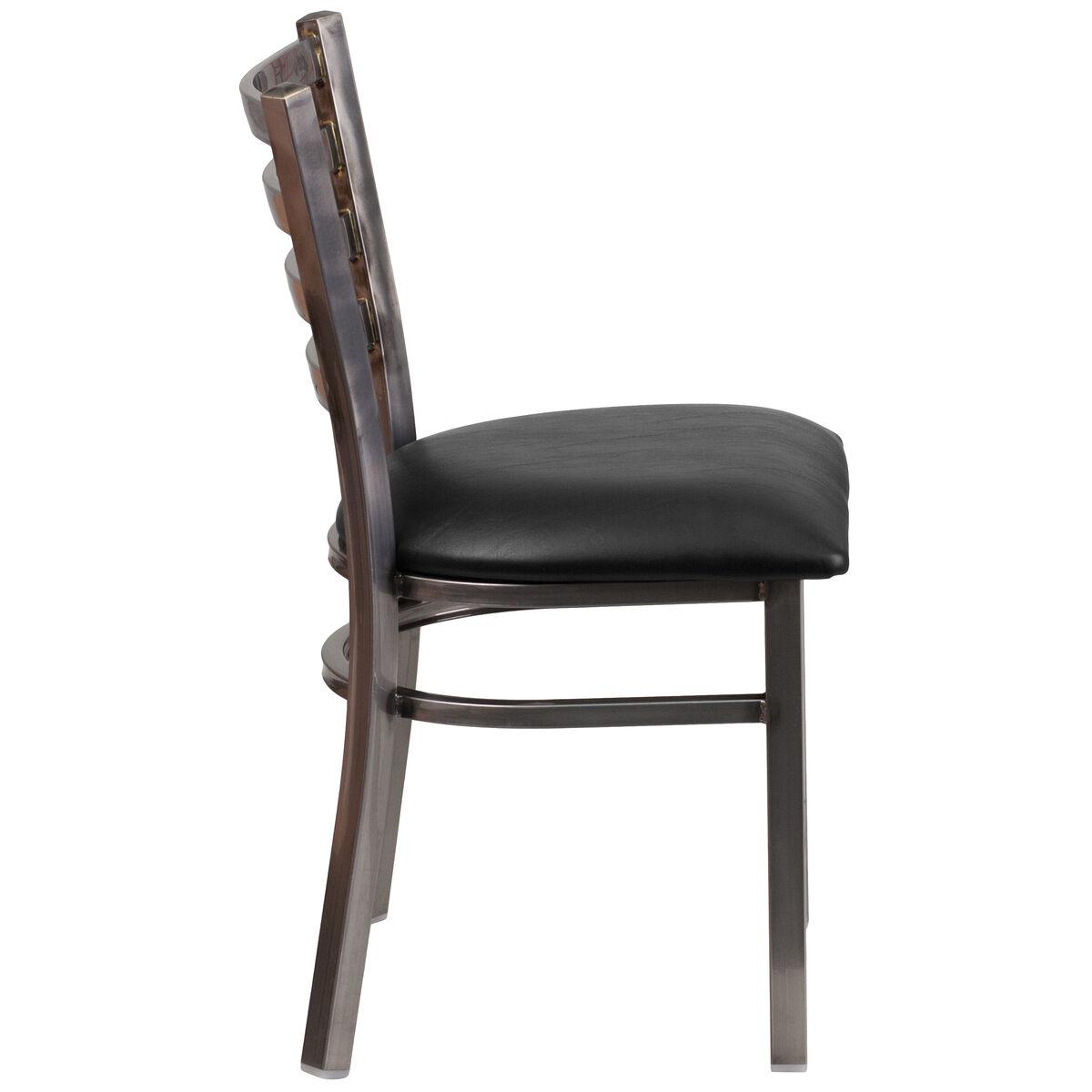 Clear Ladder Chair Black Seat Bfdh 6147clrladbk Tdr
