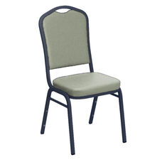 Embroidered E-Z Wallaby Grey Vinyl Upholstered Crown Back Banquet Chair - Silver Vein Frame