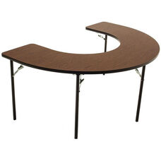 Horseshoe Shaped Folding Feeding Table with 1'' Thick Particleboard Core and High Pressure Laminate Top - 48''W x 72''D x 32''H
