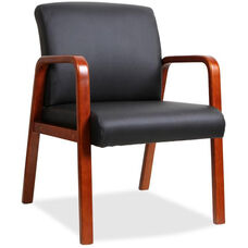 Lorell Cherry Wood Frame Guest Armchair - Black Leather