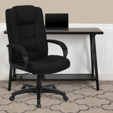 High Back Black Fabric Executive Swivel Office Chair with Arms