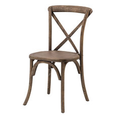 Rustic Sonoma Solid Wood Cross Back Stackable Dining Chair - Dark Walnut
