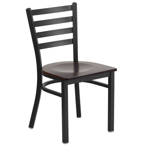 Our Black Ladder Back Metal Restaurant Chair with Walnut Wood Seat is on sale now.