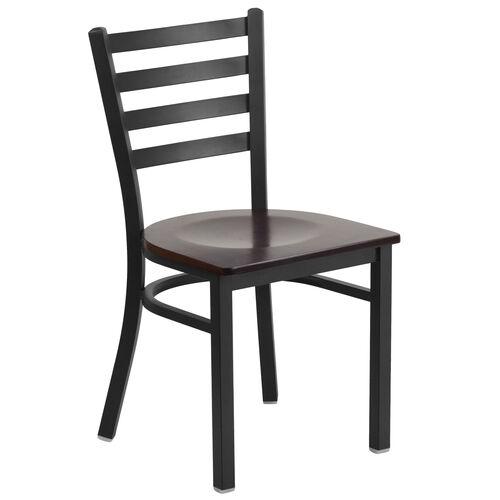 Our HERCULES Series Black Ladder Back Metal Restaurant Chair - Walnut Wood Seat is on sale now.