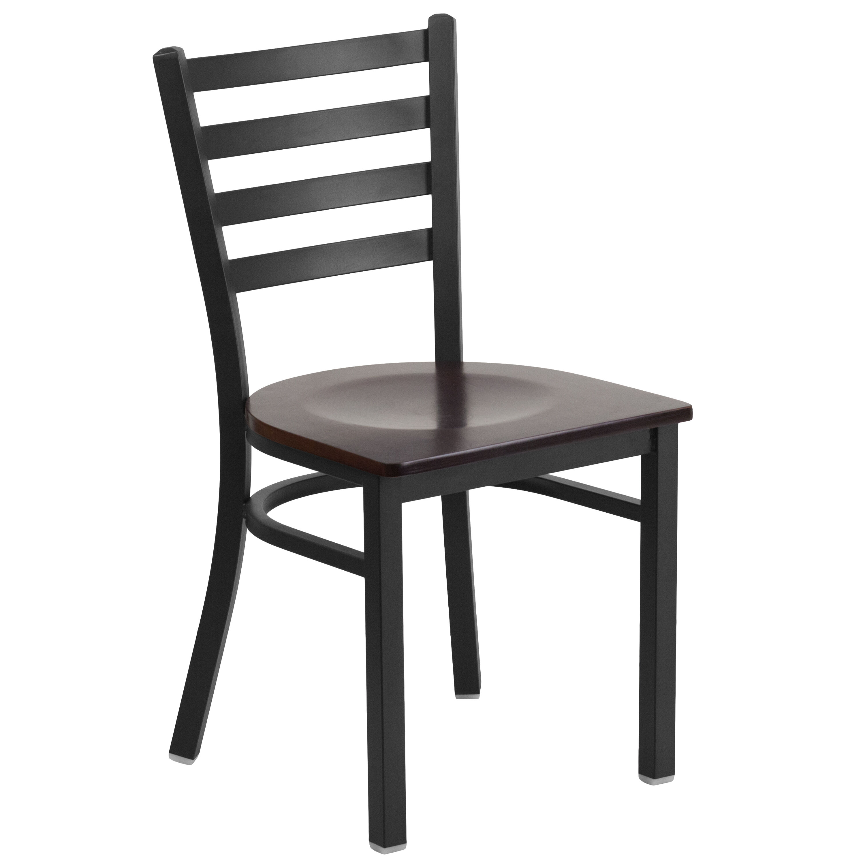 Elegant Black Ladder Back Metal Restaurant Chair With Walnut Wood Seat