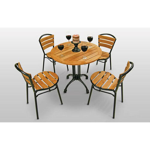 Our Round Teak Outdoor Table with Black Base is on sale now.
