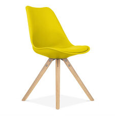 Viborg Mid Century Yellow Side Chair with Natural Wood Base - Set of 2