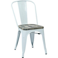 OSP Designs Bristow Metal Chair with Wood Seat - 4-Pack - White and Vintage Ash Crazy Horse