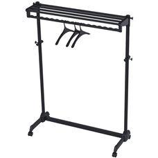 ALBA'S Steel Mobile Garment Rack with Three Coat Hangers - Black