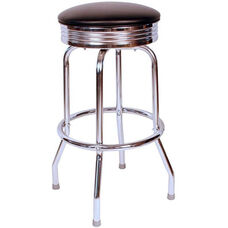 Retro Style Backless 24''H Swivel Bar Stool with Chrome Frame and Padded Seat - Black Vinyl