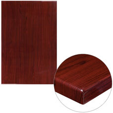 "30"" x 45"" Rectangular High-Gloss Mahogany Resin Table Top with 2"" Thick Edge"