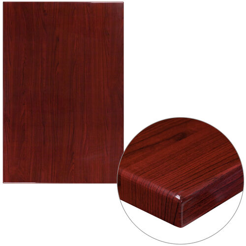 """Our 30"""" x 45"""" Rectangular High-Gloss Mahogany Resin Table Top with 2"""" Thick Edge is on sale now."""