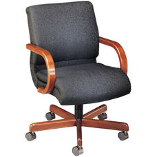 Quick Ship 1200 Series Management Swivel Chair with Wood Arms