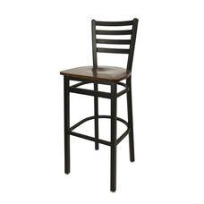 Lima Metal Ladder Back Barstool - Walnut Wood Seat