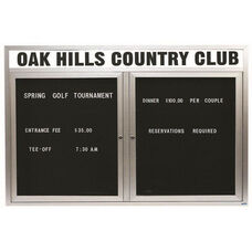 2 Door Outdoor Enclosed Directory Board with Header and Aluminum Frame - 48