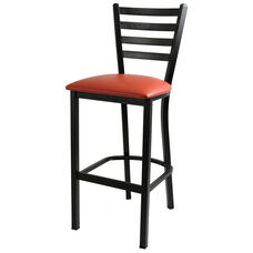 Metal Ladder Back Barstool with Black Finish