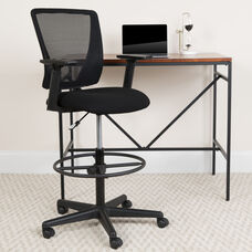 Ergonomic Mid-Back Mesh Drafting Chair with Black Fabric Seat, Adjustable Foot Ring and Adjustable Arms