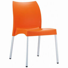 Vita Outdoor Resin Stackable Dining Chair with Aluminum Legs - Orange