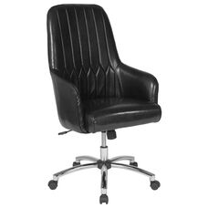 Albi Home and Office Upholstered High Back Chair in Black Leather