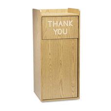 Safco® Push Door Waste Receptacle w/Tray Holder - Square - Wood - 36gal - Medium Oak