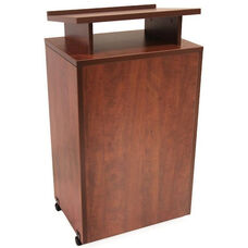 Legacy 24''W x 18''D Mobile Wooden Lectern with 2 Shelves - Cherry