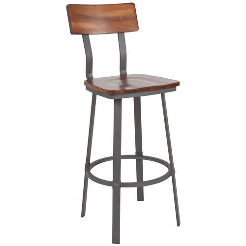 Our Rustic Walnut Restaurant Barstool with Wood Seat & Back and Gray Powder Coat Frame is on sale now.