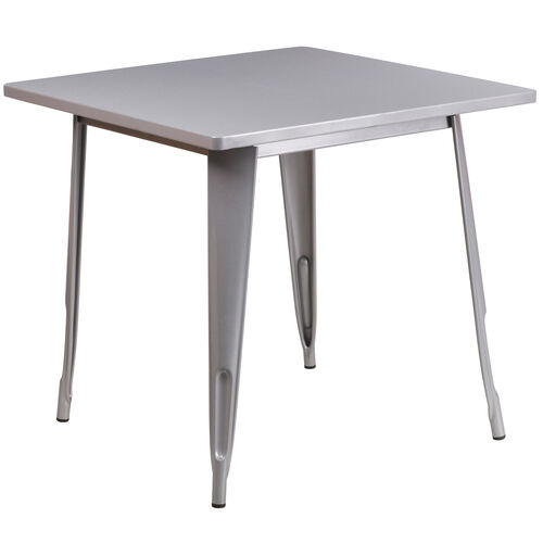 "Our Commercial Grade 31.5"" Square Silver Metal Indoor-Outdoor Table is on sale now."