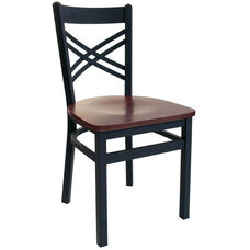Akrin Metal Cross Back Chair - Black Wood Seat
