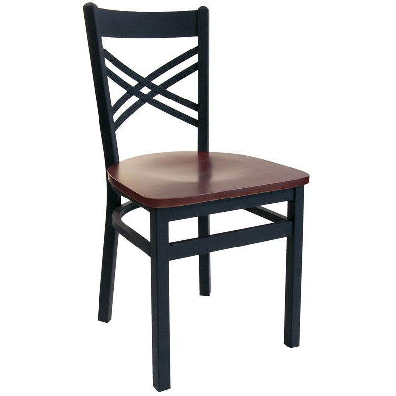 Akrin Metal Cross Back Chair   Black Wood Seat
