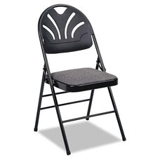 Cosco® Fabric Padded Seat/Molded Fan Back Folding Chair - Kinnear Black - 4/Carton