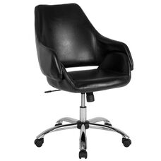Madrid Home and Office Upholstered Mid-Back Chair in Black Leather