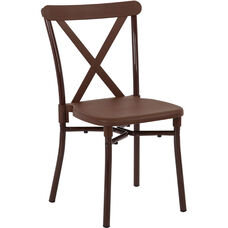 Work Smart X-Back Plastic Stacking Chair with Aluminum Frame - Set of 4 - Brown
