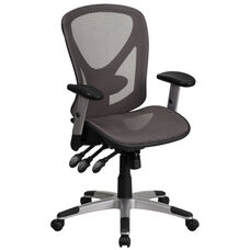 Mid-Back Transparent Gray Mesh Multifunction Executive Swivel Chair with Adjustable Arms