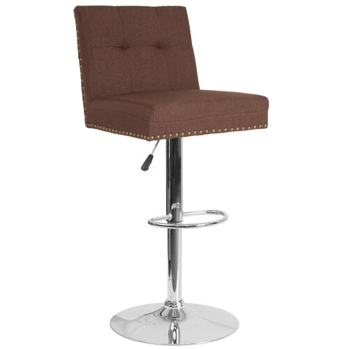Ravello Contemporary Adjustable Height Barstool with Accent Nail Trim in Brown Fabric