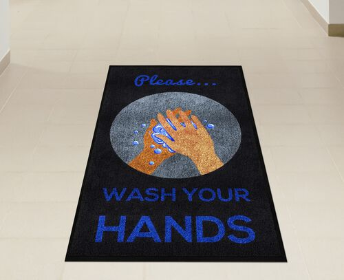 "Our ""Please Wash Your Hands"" Message Floor Mat - 59""W x 35""D is on sale now."