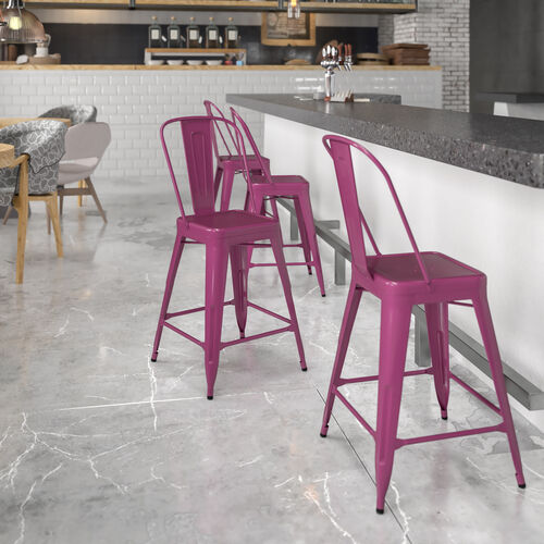 """Commercial Grade 24"""" High Purple Metal Indoor-Outdoor Counter Height Stool with Back"""