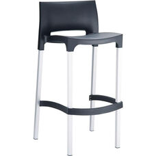 Domenica Lightweight Stackable Barstool with Matte Aluminum Legs - Black