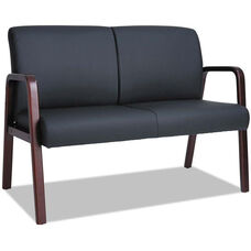 Alera® Reception Lounge Series Soft Leather Loveseat with Mahogany Wood Frame and Arms - Black