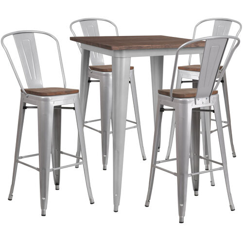 "Our 31.5"" Square Silver Metal Bar Table Set with Wood Top and 4 Stools is on sale now."