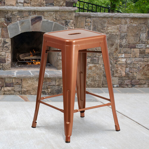 "Our Commercial Grade 24"" High Backless Copper Indoor-Outdoor Counter Height Stool is on sale now."
