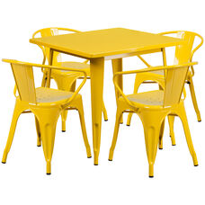 "Commercial Grade 31.5"" Square Yellow Metal Indoor-Outdoor Table Set with 4 Arm Chairs"