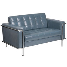 HERCULES Lesley Series Contemporary Gray Leather Loveseat with Encasing Frame