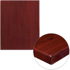 "24"" x 30"" Rectangular High-Gloss Mahogany Resin Table Top with 2"" Thick Edge"