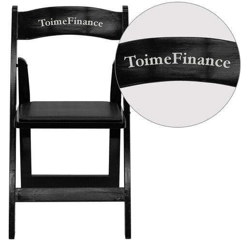 Our Personalized HERCULES Series Black Wood Folding Chair with Vinyl Padded Seat is on sale now.