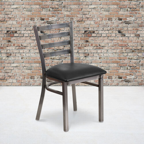 Our Clear Coated Ladder Back Metal Restaurant Chair with Black Vinyl Seat is on sale now.